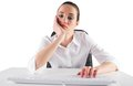 Bored businesswoman typing on keyboard white background Stock Images
