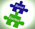 Bored excited puzzle means exciting and fun meaning or boring Royalty Free Stock Photo