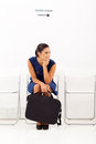 Bored female applicant waiting employment interview Royalty Free Stock Photo