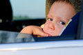 Bored little boy in a car Royalty Free Stock Photography
