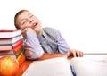 Bored Schoolboy is sleeping Royalty Free Stock Photo