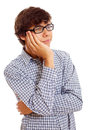 Bored young man portrait of tired college student in checkered shirt and black glasses isolated on white background mask included Royalty Free Stock Photography