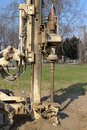 Borehole for soil testing drilling equipment geotechnical engineering purpose Royalty Free Stock Photo