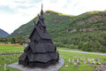 Borgund stave church built in to and dedicated to the apostle st andrew it is one of the best preserved churches in the Royalty Free Stock Photos