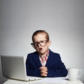 Boring job.Young business boy.child in glasses. little boss in office Royalty Free Stock Photo