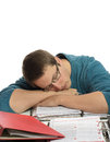 Boring paperwork one man fell asleep over too much Royalty Free Stock Image