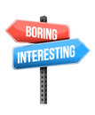 Boring versus interesting road sign illustration design over a white background Royalty Free Stock Image