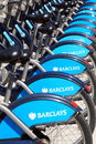 Boris bikes london united kingdom july london cycle hire at a docking station standing in a uniform row displaying barclays Stock Images