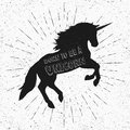 Born to be a unicorn. Vector illustration, eps10. Abstract unicorn silhouette with text.