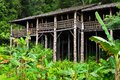 Borneo sarawak tribal longhouse architecture Stock Photo