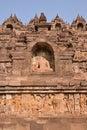 Borobudur at the base with plenty of small stupas and buddha statues Royalty Free Stock Photo