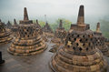 Borobudur temple bell shaped stupas of Stock Photo