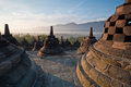 Borobudur Temple Morning Sunrise Royalty Free Stock Images