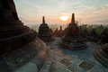 Borobudur Temple Morning Sunrise Royalty Free Stock Photos