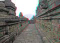 Borobudur temple in stereo java indonesia anaglyph you need use cyan red glasses to take d effect Stock Photo