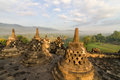 Borobudur temple stupa row in Indonesia Stock Photos