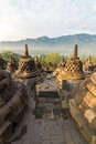 Borobudur temple stupa row in Indonesia Stock Photography