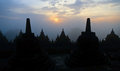 Borobudur temple at sunrise Stock Images