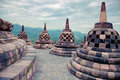 Borobudur temple at sunrise java indonesia Royalty Free Stock Photography