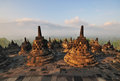 Borobudur temple sunrise stupas at yogjakarta indonesia Royalty Free Stock Photos