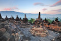 Borobudur temple sunrise stupas at yogjakarta indonesia Stock Image