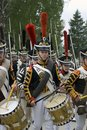 Borodino battle historical reenactment in Russia. Russian army soldiers
