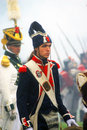 Borodino historical reenactment reenactors dressed as napoleonic war soldiers fight in fume at battle at its th anniversary on Stock Image
