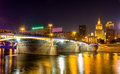 Borodinsky bridge in moscow by night russia Royalty Free Stock Photography