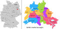 Boroughs of berlin administrative division germany map with twelve Stock Photography