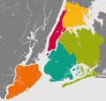 Boroughs of New York City - outline map. Royalty Free Stock Photo