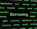 Borrow debt shows arrears finance and liability borrowing meaning financial obligation liabilities Royalty Free Stock Images