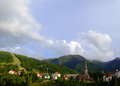 Borsa maramures alpine resorts and traditional wood church Stock Images