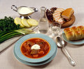 Borsch, cream, bread and vodka Royalty Free Stock Images