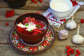 Borsch, traditional Ukrainian beet and sour cream soup Royalty Free Stock Photo