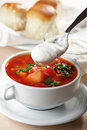 Borscht closeup Stock Photo