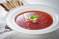 Borscht soup closeup view of Stock Images