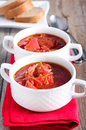 Borscht soup two bowls of Stock Image