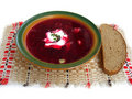 Borshch with bread Royalty Free Stock Photo