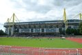 Borussia dortmund borusseum stadium with ancillary play area young people sports games Royalty Free Stock Photos