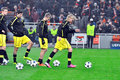 Borussia Dortmund football team with the balls on the field Royalty Free Stock Image