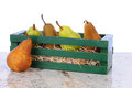 Bosc and Bartlett Pears in Wood Crate Royalty Free Stock Image