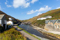 Boscastle Cornwall England UK river flowing towards the harbour beautiful day Royalty Free Stock Photo