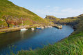 Boscastle harbour north cornwall england uk between bude and tintagel on a beautiful sunny summer day Stock Photo