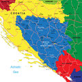 Bosnia herzegovina map highly detailed vector of with administrative regions main cities and roads Stock Photo