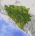 Bosnia and Herzegovina, shaded relief map Stock Images
