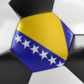 Bosnia and herzegovina soccer ball close up view of a with the flag of on it Royalty Free Stock Photo