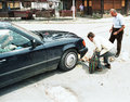 Bosnian civil war a mercedes sedan plows through three men desperately trying to salvage two dozen very valuable eggs which Stock Images