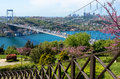 Bosphorus Bridge connecting the european and asian Istanbul Turkey Royalty Free Stock Photo