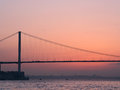 Bosphorus bridge at the sunset detail of Stock Images