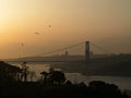 Bosphorus bridge at the sunset looking from a hill Stock Photos